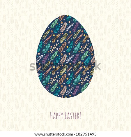 Easter spring background with egg and font. Happy Easter!