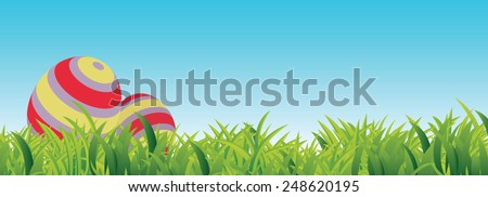Easter Spring Scene, with grass, blue sky, copy space and two Easter Eggs - stock vector