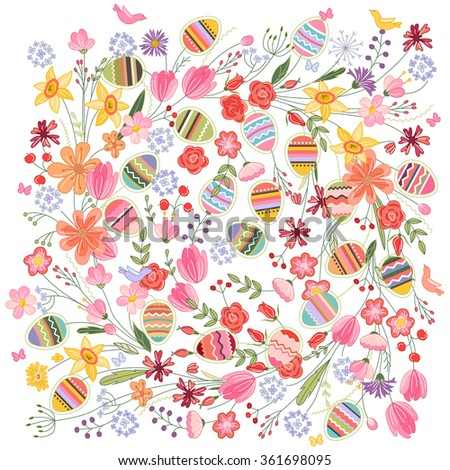 Easter square  pattern with contour flowers and eggs on white. Template for easter design, announcements, greeting cards, posters, advertisement. - stock vector