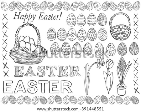 Easter symbols doodle vector set. Doodle Easter eggs, baskets and spring flowers. Pencil effect collection. Set of simple doodles. Isolated on white background.  - stock vector