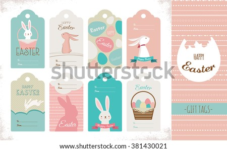 Easter tag collection with bunnies and Easter eggs. Happy Easter - stock vector