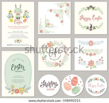 Vector Happy Easter Templates Eggs Flowers Stock Vector