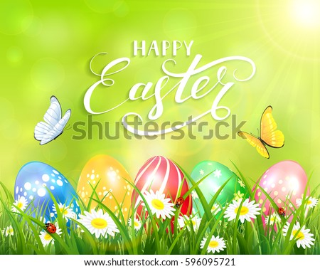 Easter theme with a butterfly flying above the colorful eggs on grass and flowers, green nature background with sun beams and lettering Happy Easter, illustration.