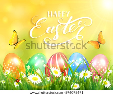 Easter theme with a butterfly flying above the colorful eggs on grass and flowers, yellow nature background with sun beams and lettering Happy Easter, illustration.