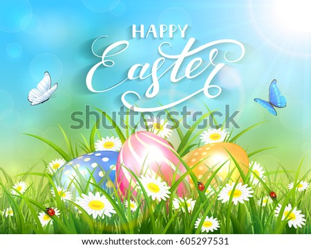 Easter theme with a flying butterflies and three colorful eggs on grass and flowers, blue nature background with sun beams and lettering Happy Easter, illustration.