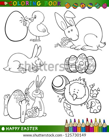 Easter Themes Collection Set of Black and White Cartoon Vector Illustrations for Coloring Book - stock vector