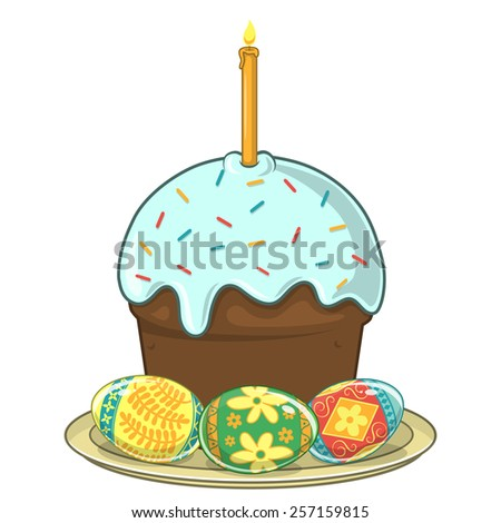 Easter traditional cake and eggs. Design element isolated on white. Eps 10 vector illustration. - stock vector