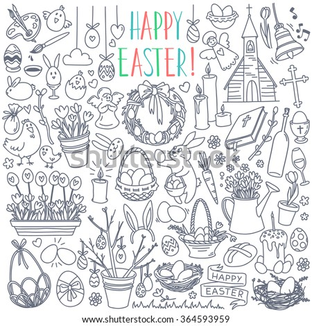 Easter traditional symbols collection - eggs, bunny, willow twigs, basket, candles, Christian church, egg decorating. Vector drawings set isolated on white background. - stock vector