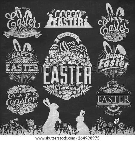Easter Typographical Set With Flowers And Rabbit On Chalkboard - stock vector