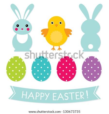 Easter vector elements set - stock vector