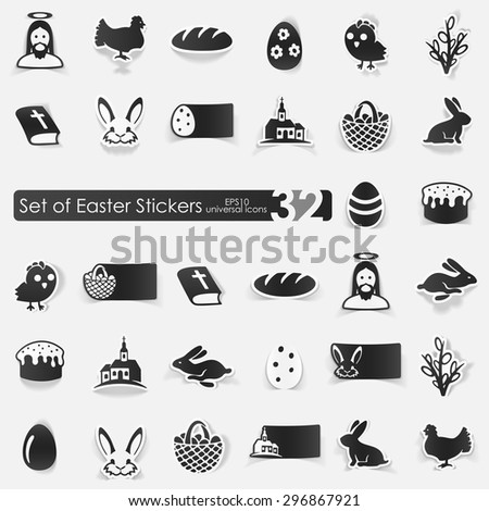 Easter vector sticker icons with shadow. Paper cut - stock vector