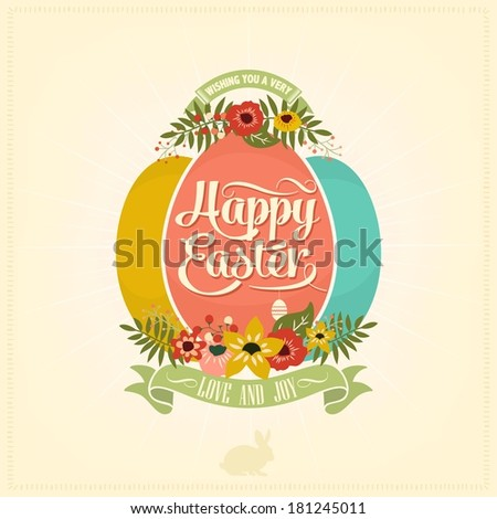 Easter vintage card. Vector illustration. - stock vector