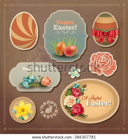 Easter vintage labels collection. Vector set. - stock vector