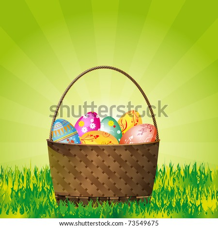 Easter wicker basket with eggs and place for your message