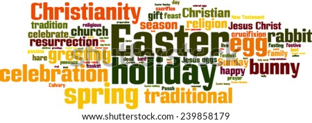 Easter word cloud concept. Vector illustration - stock vector