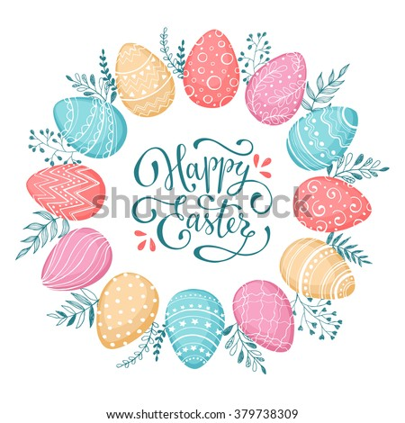 Easter wreath with easter eggs hand drawn black on white background. Decorative doodle frame from Easter eggs and floral elements. Easter eggs with ornaments in circle shape. Easter greeting card. - stock vector