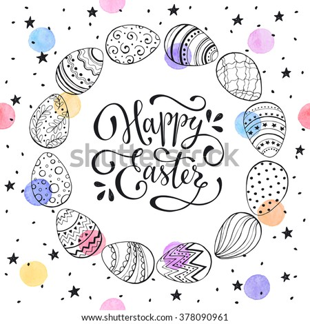 Easter wreath with easter eggs hand drawn black on white background. Decorative frame from eggs. Easter eggs with ornaments in circle shape with watercolor dots and black stars. - stock vector