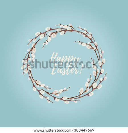 Easter Wreaths with Willow Branches - stock vector
