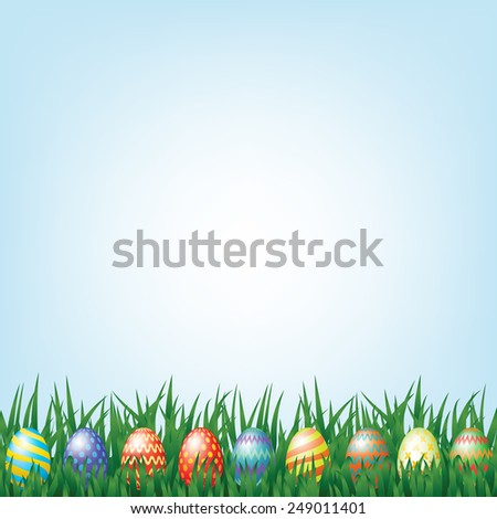Eastern background with blue sky and eggs in grass - stock vector