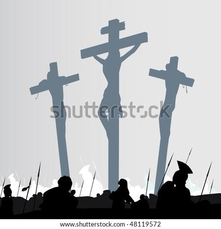 Eastern calvary crucifixion scene. Calvary crucifixon scene with three crosses. Vector Illustration. - stock vector