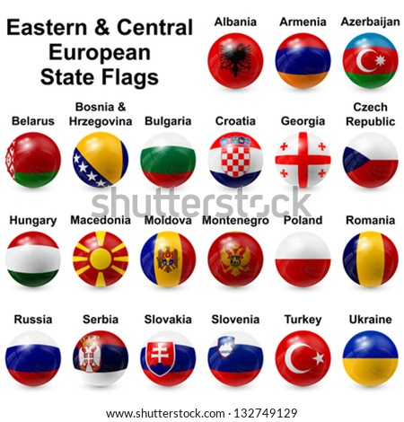 Eastern & Central European State Flags - stock vector