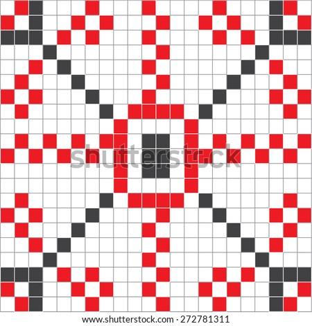 Eastern European Motif Folk Style Squares - stock vector