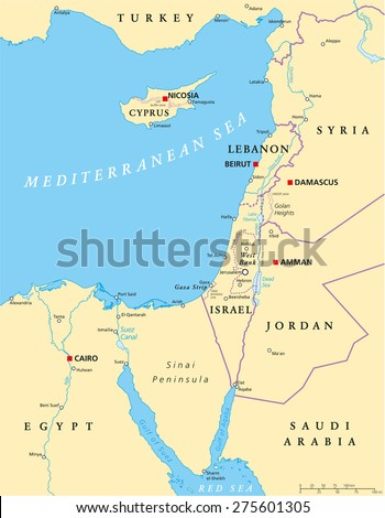 Eastern Mediterranean Political Map with capitals national borders, important cities, rivers and lakes. English labeling and scaling. Illustration. - stock vector