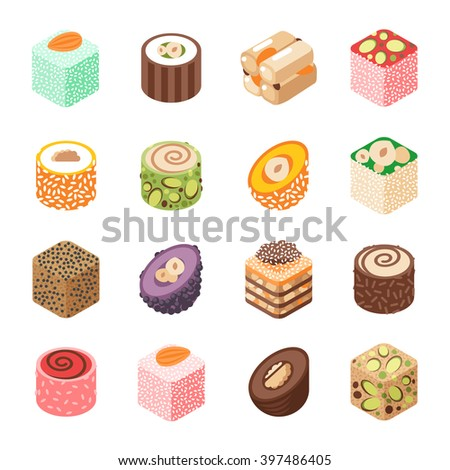 Eastern sweets vector. Turkish baklava sweet made with honey and pistachio nuts. Eastern sweets made with honey. Eastern sweets traditional arabic food isolated on white background. - stock vector