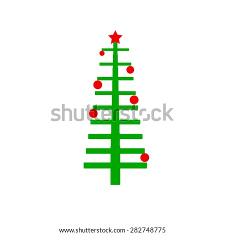 Easy Christmas tree stylized - stock vector