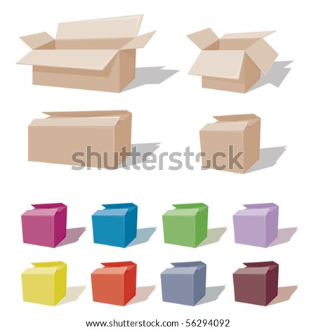 Easy color change for a Cardboard box - stock vector