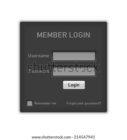 Easy customizable member log in website element on white background - stock vector