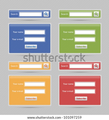 Easy customizable semitransparent search and newsletter website element - stock vector