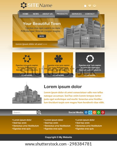 Easy customizable yellow ochre and dark grey website template layout - stock vector