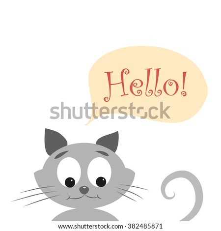 Easy cute kitty say hello to you. Vector illustration of cute cat with word HELLO.