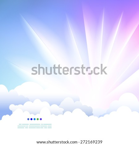 Easy drawing sky with clouds and sunshine. Fly and rest illustration.