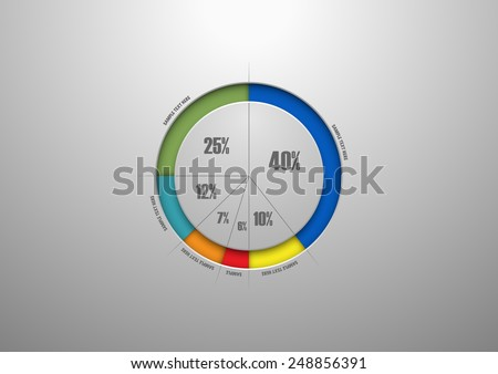 Easy editable colorful business pie chart for Your documents, reports, presentations and infographic - stock vector