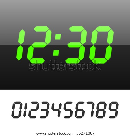 Easy editable vector illustration of a digital clock. Set your time. - stock vector