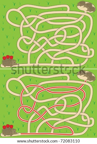 Easy hedgehog maze for kids with solution - stock vector