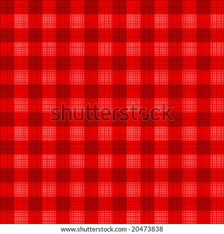 Easy tilable (you see 4 tiles) Christmas red gingham seamless repeat pattern with fabric texture ( for high res JPEG or TIFF see image 20474149 )  - stock vector