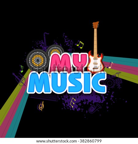 easy to edit illustration of abstract music background with guitar - stock vector