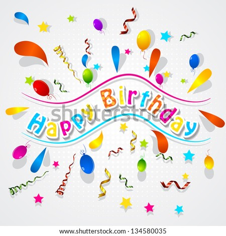 easy to edit paper confetti background for Birthday - stock vector