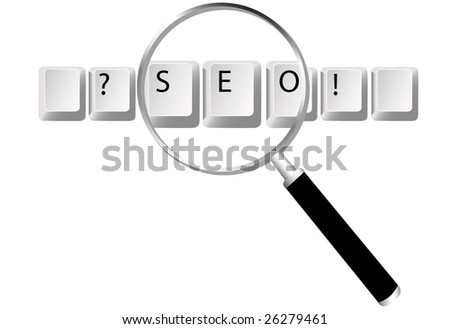Easy to edit to create your design. Keyboard key symbols for Search Engine Optimized text and website searches magnified by magnifying glass.