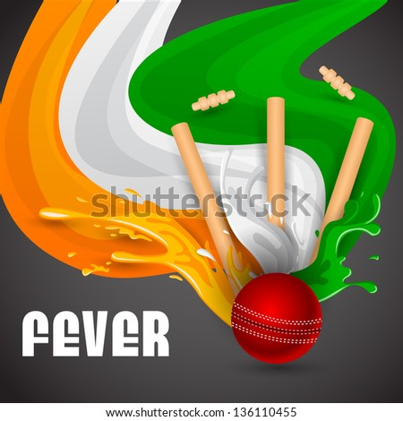 easy to edit vector illustration of ball and stumps for cricket design - stock vector