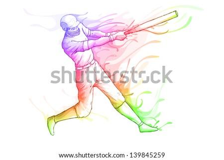 easy to edit vector illustration of baseball player striking - stock vector