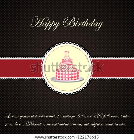 easy to edit vector illustration of Birthday cake - stock vector