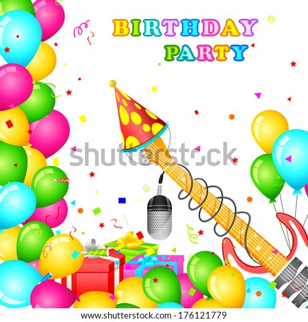 easy to edit vector illustration of birthday party card with colorful balloons - stock vector