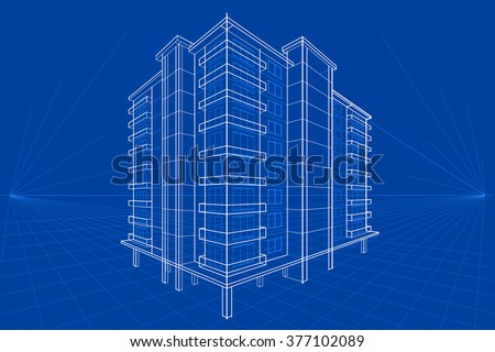 easy to edit vector illustration of blueprint of building - stock vector