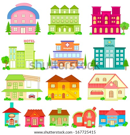 easy to edit vector illustration of Building Icon Collection - stock vector