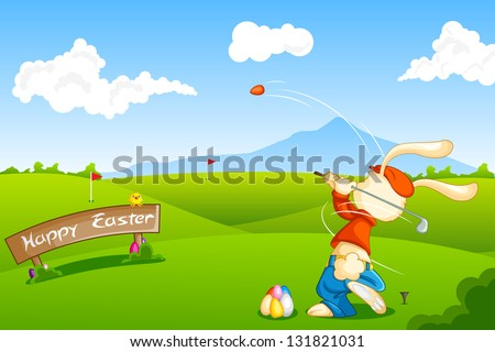 easy to edit vector illustration of bunny playing golf with Easter egg - stock vector