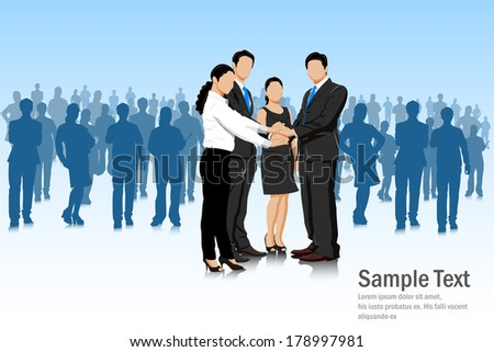 easy to edit vector illustration of business deal with businesspeople - stock vector